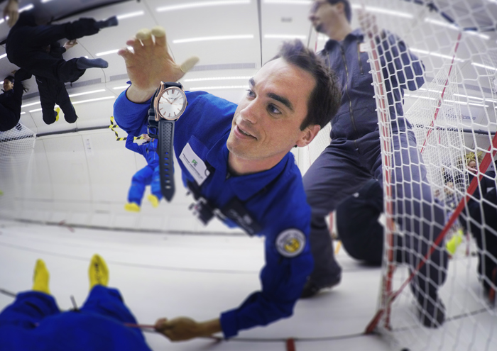 Edouard Meylan in Zero Gravity with new Pioneer Centre Seconds watch