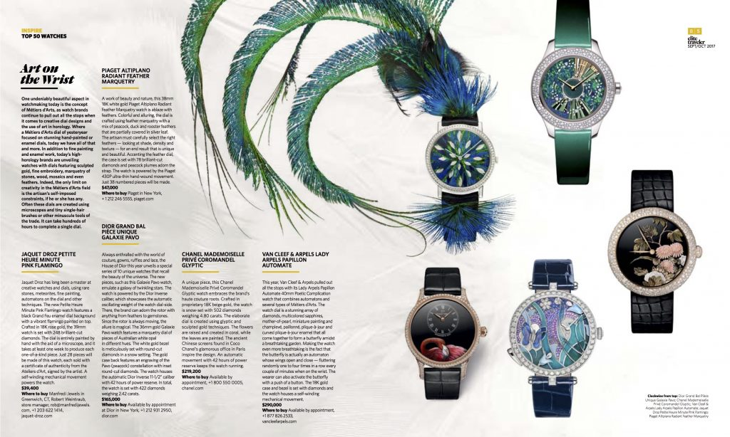 Elite Traveler Magazine's Top 50 Watches of 2017: Artistic watches