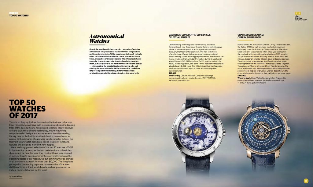 Elite Traveler Magazine's Top 50 Watches of 2017: astronomical watches