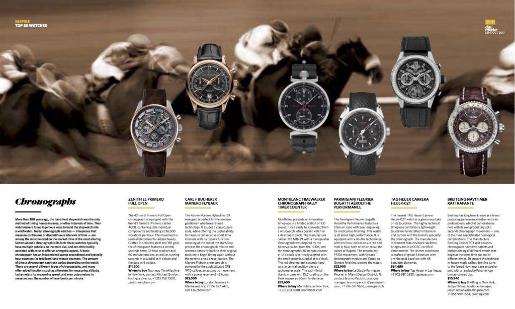 Elite Traveler Magazine's Top 50 Watches of 2017: Chronographs