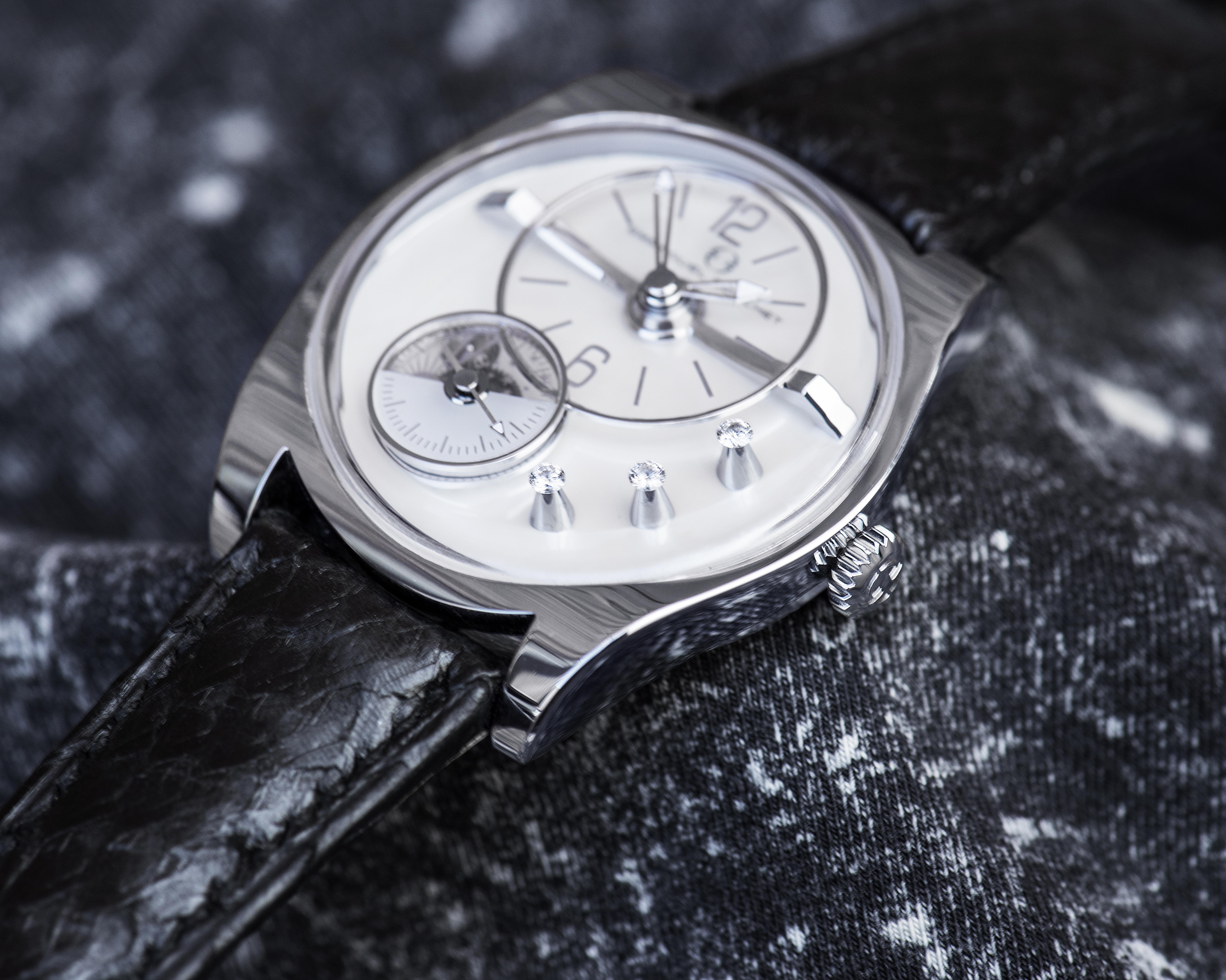 The Emmanuel Bouchet EB02 Automatic Limited Edition with diamonds -- in a conical setting -- is a technical masterpiece.