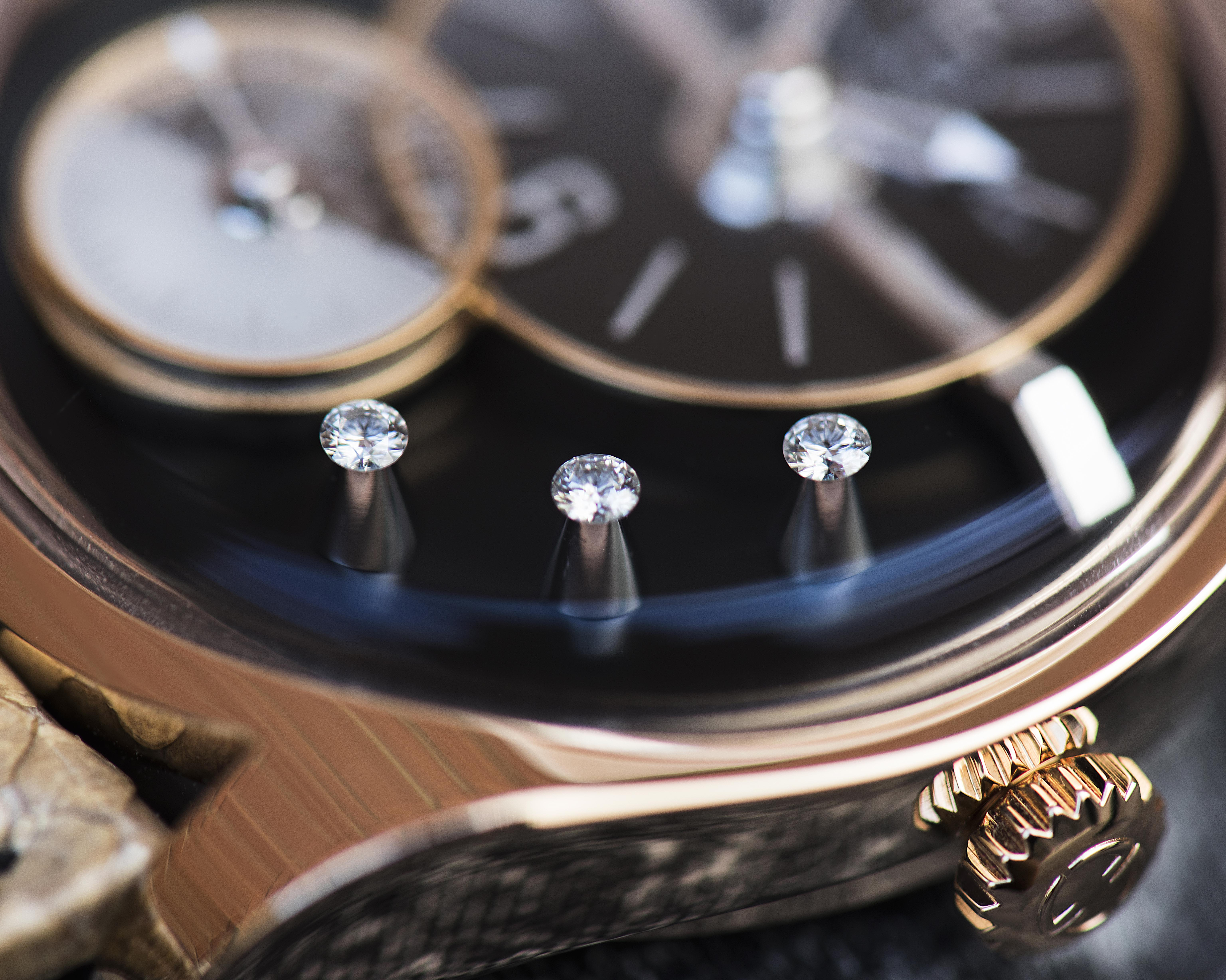 The unique diamond setting on the Emmanuel Bouchet EB02 watch makes it worth the extra thousands of dollars over the unset version.