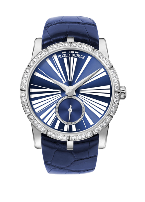 Roger Dubuis Excalibur 36mm steel watch with diamonds ($18,900), houses the mechanical caliber RD821 with 172 parts.