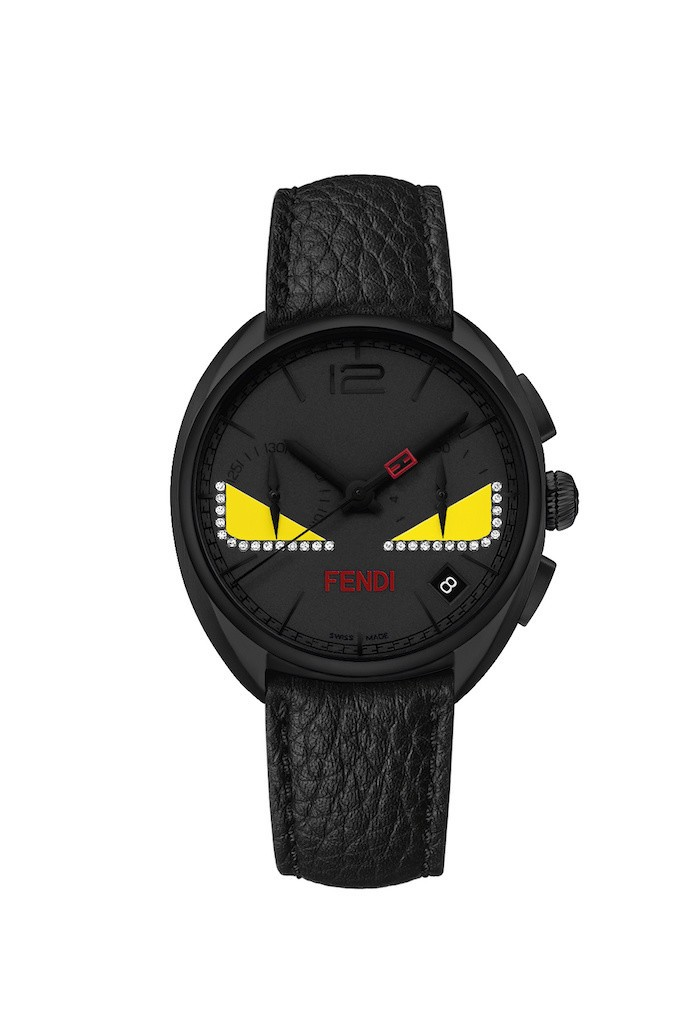 Fendi Momento Bag Bugs watch with diamond accents.