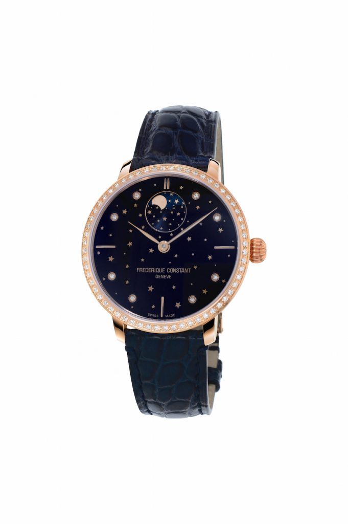 The Frederique Constant Slimline Moonphase Stars Manufacture watch houses the FC-701 Manufacture caliber, automatic with moonphase adjustable through the crown.
