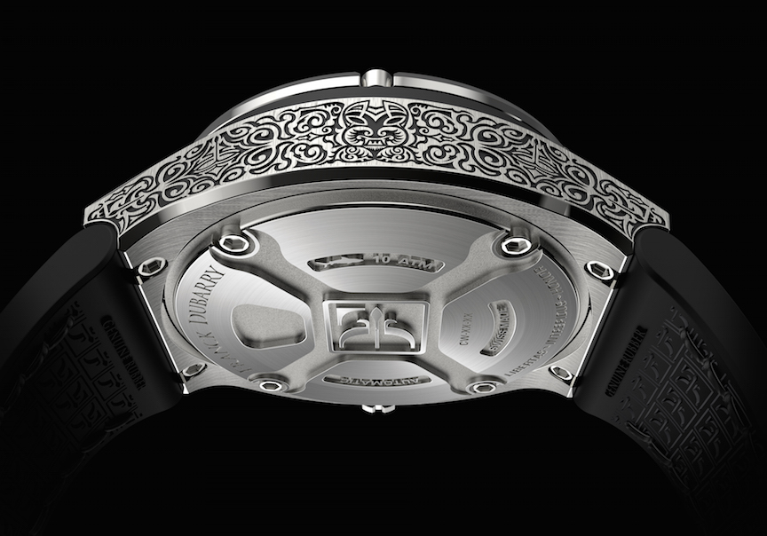 The caseback of the Dubarry Crazy Wheel watch features a stylized logo.