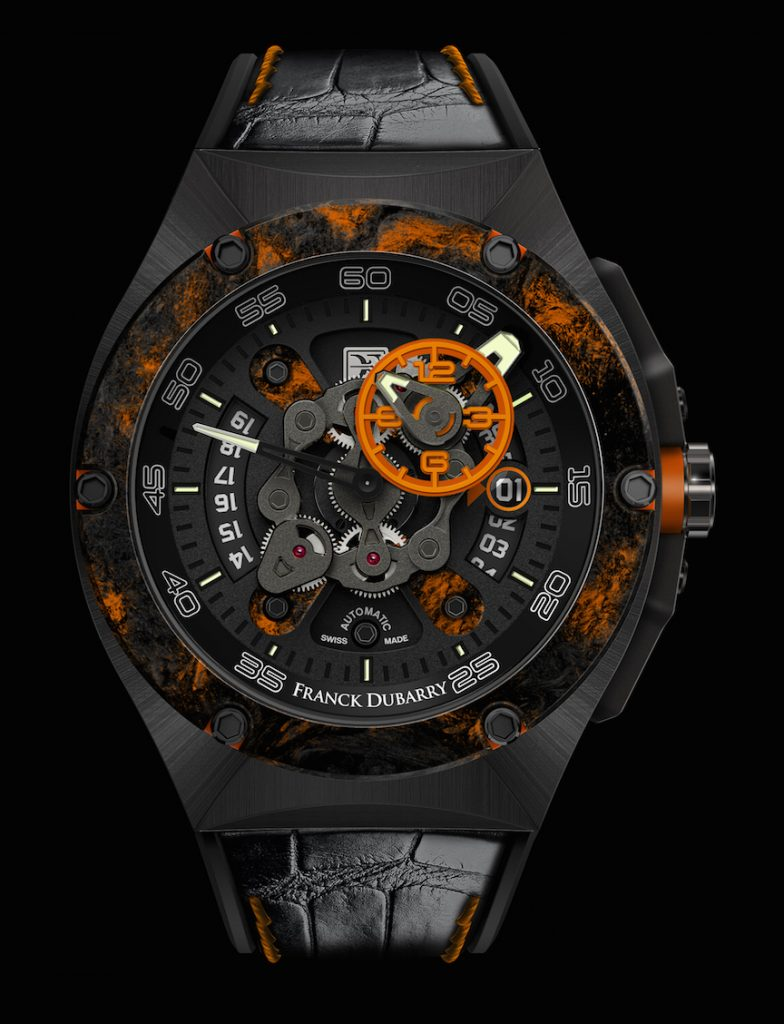 Dubarry Crazy Wheel watch in titanium with carbon fiber bezel.