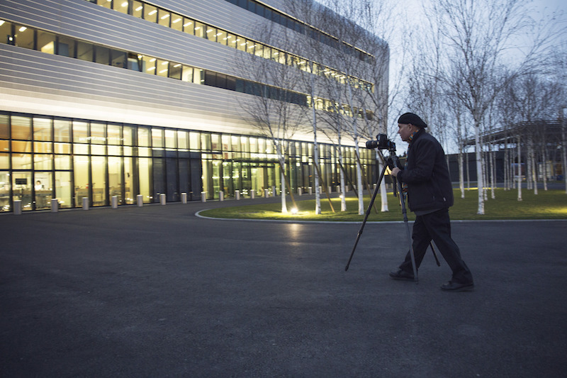 Photographer Steve McCurry shooting outside the Vacheron Constantin Factory in Switzerland