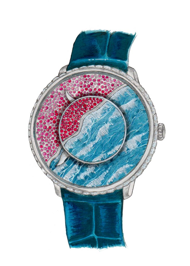 Independent watch designer, Fiona Kruger, designed the dial of the new Faberge' Lady Libertine III Dalliance watch.