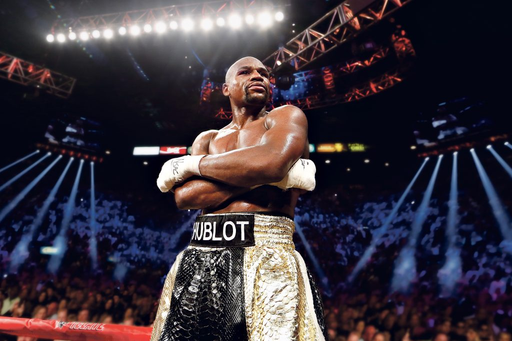 Floyd Mayweather Jr. with Hublot on his boxing shorts.