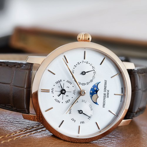 The watch is offered in steel or rose-gold plating