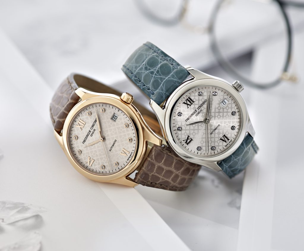 The stainless steel and rose goldplated versions of the Frederique Constant Ladies Automatic watch -- unveiled with Gwyneth Paltrow in London last night.