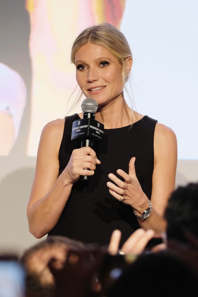 Actress Gwyneth Paltrow speaks during the Frederique Constant Horological Smartwatch launch event at Spring Studios (Photo by D Dipasupil/Getty Images for Frederique Constant)