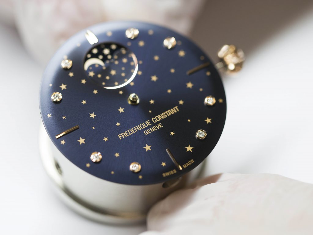 The Frederique Constant Slimline Moonphase Stars Manufacture watch, made in house.