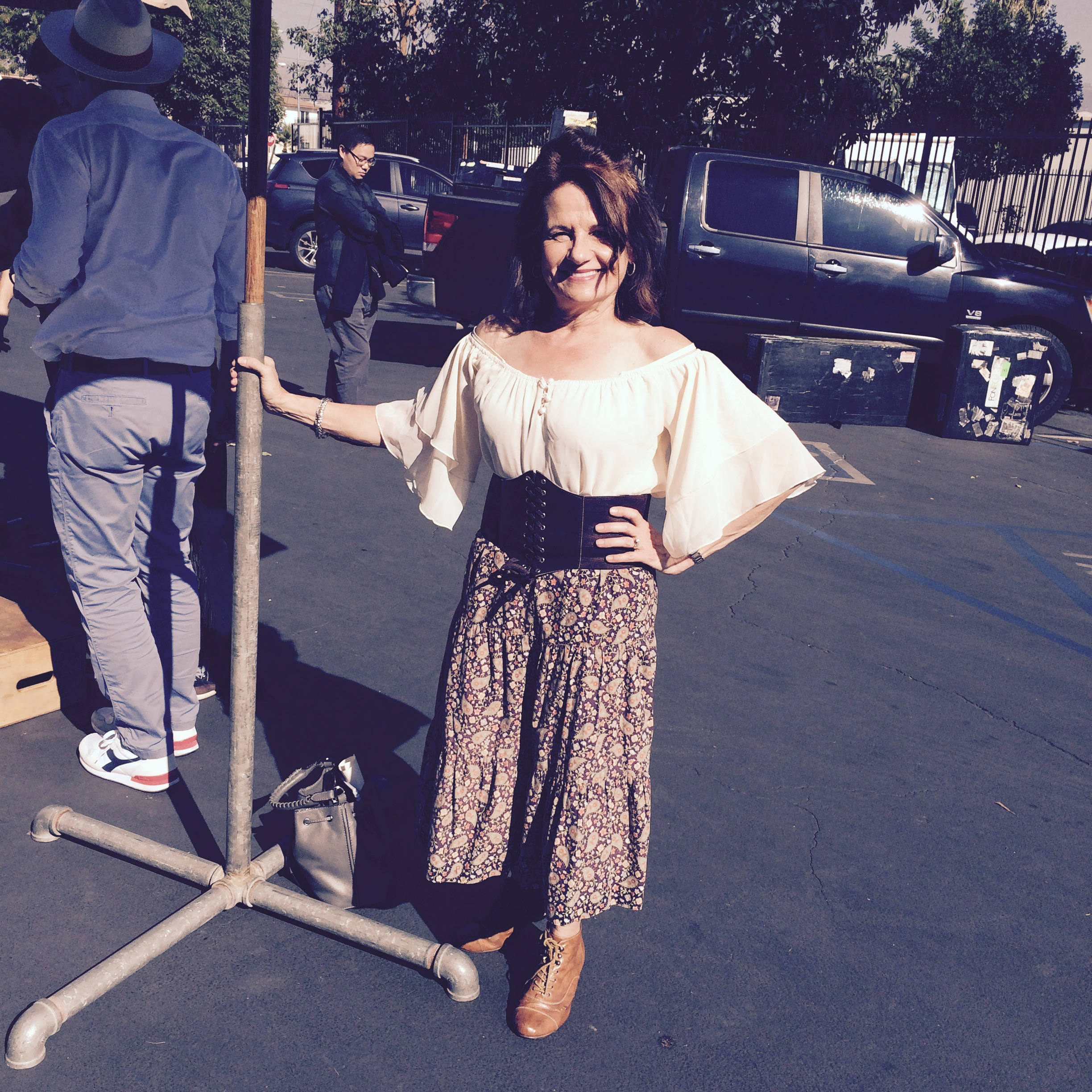 ATimelyPerspective.com contributor Nancy Olson on set in Hollywood with Hamilton.