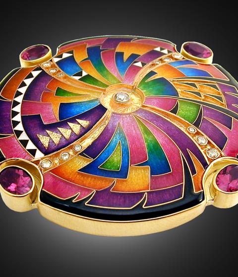"Kaleidoscopic ""Sphere"" brooch by Falcher Fusager"