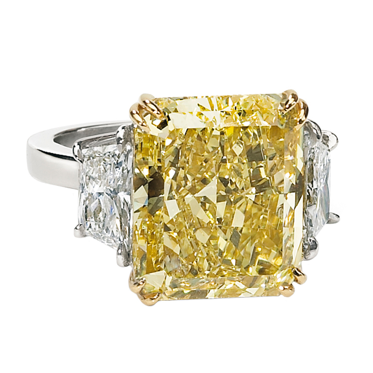 GIA certified 10.01-carat radiant-cut 3-stone ring, sold at auction for $78,185. (Photo courtesy of Worthy.com)