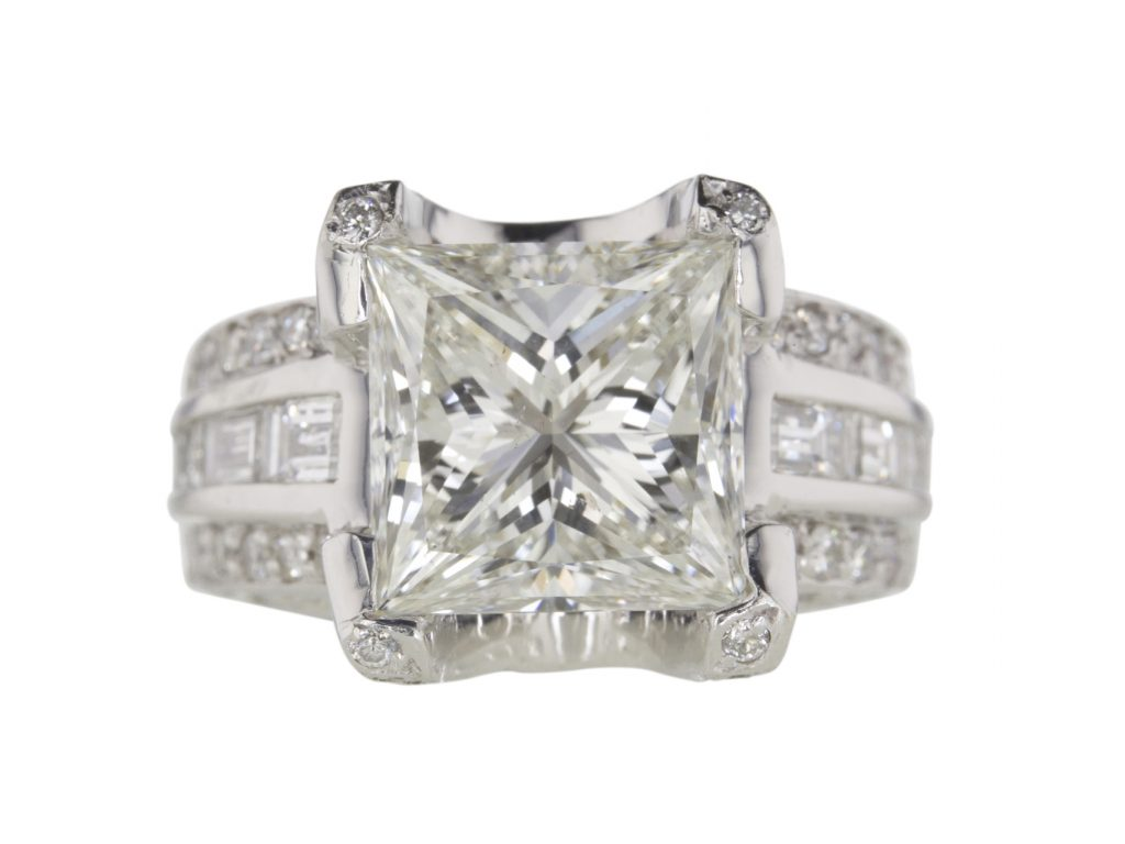 GIA 5.45-carat Princess-cut solitaire ring sold for $33,822. (photo courtesy of Worthy.com)