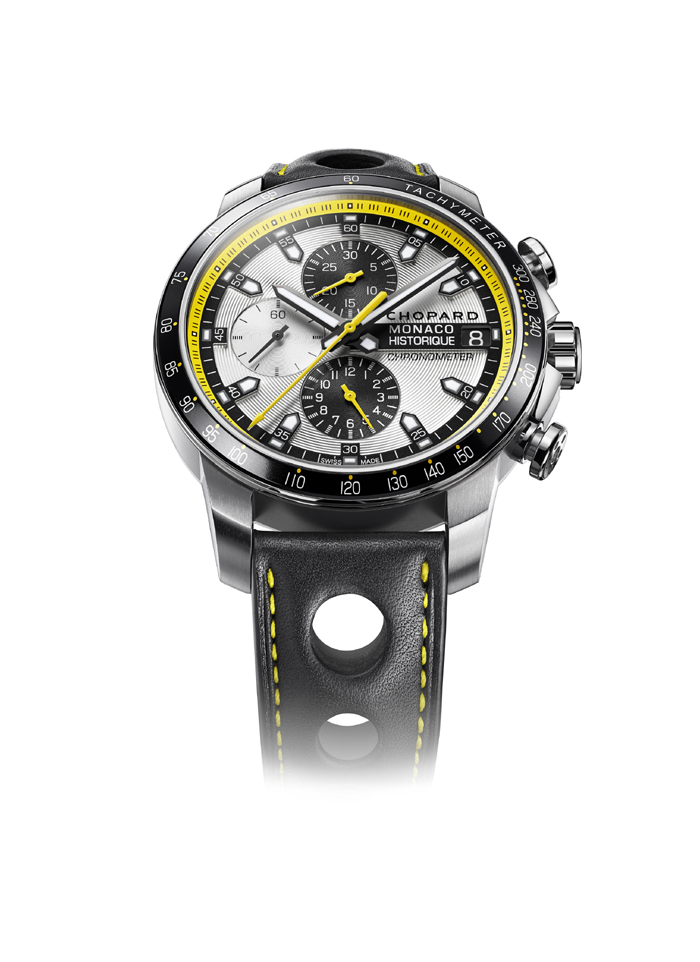 The Chopard Grand Prix de Monaco Historique Chrono is a sleek yet bold chronograph that pays hommage to vintage racing, complete with yellow accents, and luminescent hands and markers.  $7,640.