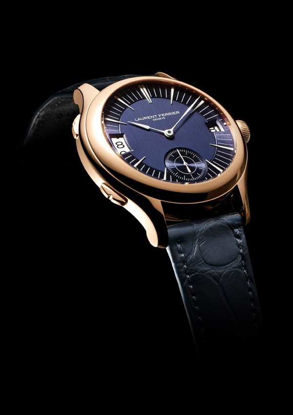 Laurent Ferrier's Galet Traveller offers date and dual time zone indication, changeable forward or backward in one hour increments.