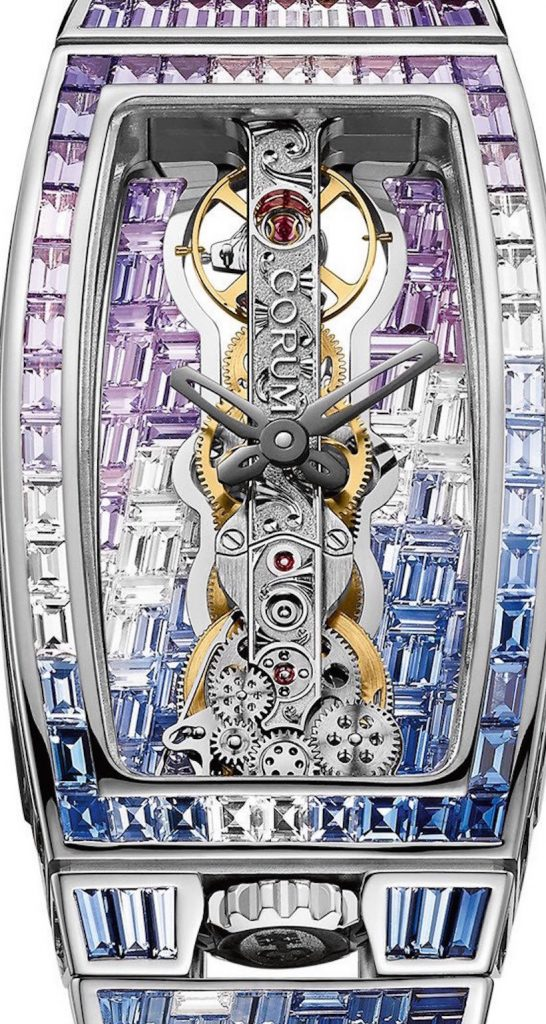 The Corum Golden Bridge Miss Sapphires watch is set with 743 precious sapphires weighing more than 17 carats.