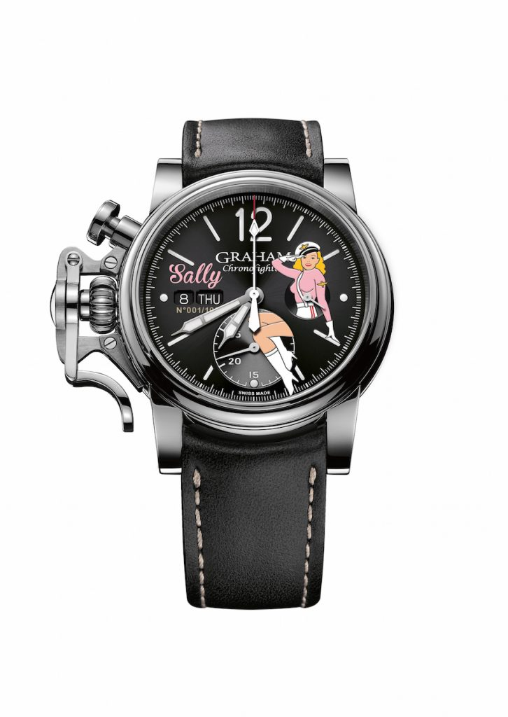 The Graham Chronofighter Vintage Nose Art watches house mechanical chronograph movements and retail for just over $5,000.