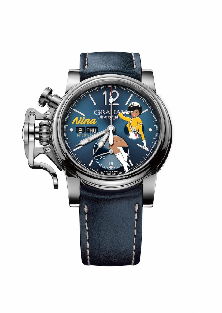 Pin-up girls were often painted on the noses of the flying forties planes, and were typically more risqué' than these Graham Chronofighter Vintage Nose Art watches.