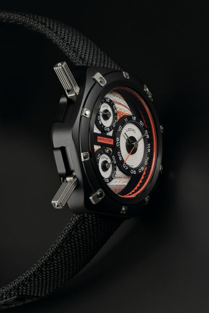 The new limited edition ODC X-03 timepiece (999 pieces) is the third in a trilogy of watches. This one was designed by Nathan Crowley with Hamilton in honor of Interstellar.