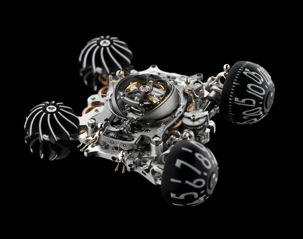 In total, six aliens man each of the MB&F HM6 Alien Nation watches.