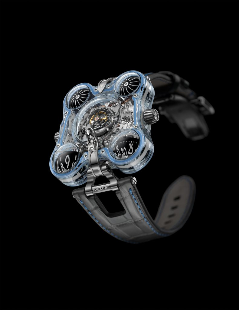 Each of the four unique MB&F HM6 Alien Nation watches has a different glow: turquoise, green, blue, purple.