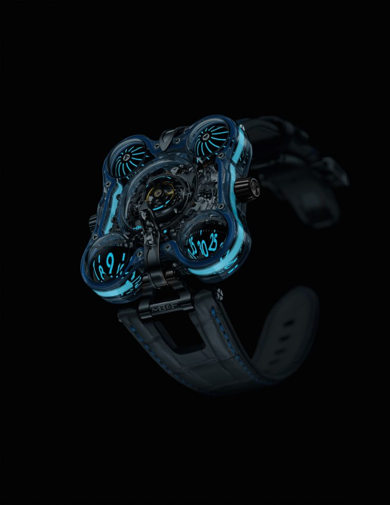 The MB&F HM6 Alien Nation watches are created in a limited edition of 4 pieces, each with a different color lumen.