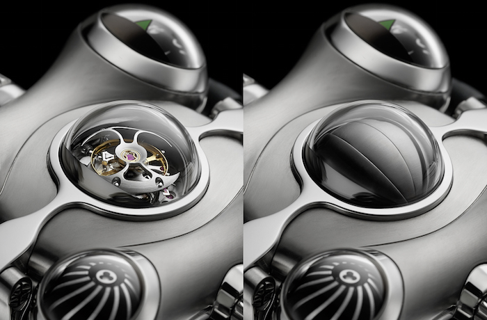 A close up look at the MB&F HM6 Alien Nation tourbillon with retractable shield.
