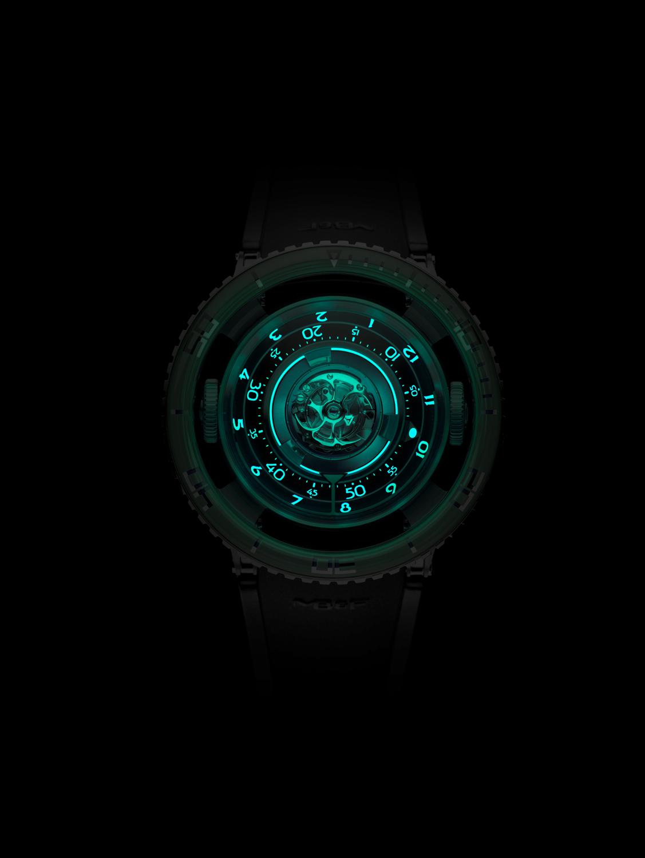 MB&F HM7 Aquapod Titanium with Green bezel glows green in the dark.