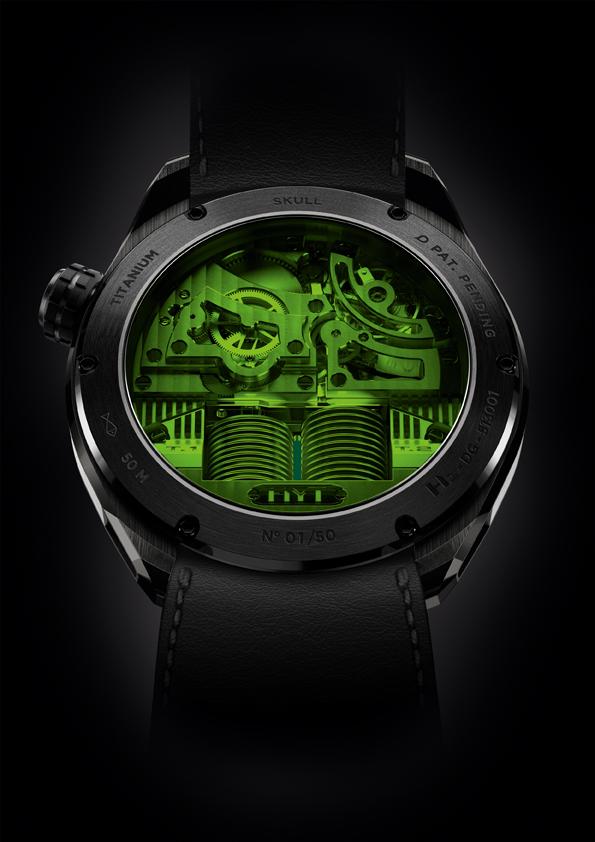 The back of the HYT Skull Green Eye