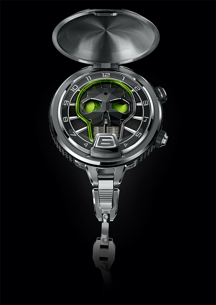 HYT Skull Pocket Watch with liquid time indication and blue illumination