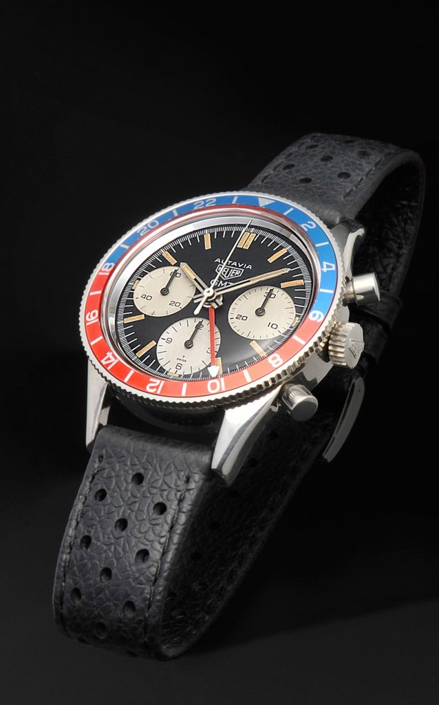 Vintage Heuer Autavia 1968 traveling as part of the TAG Heuer Museum in Motion exhibit