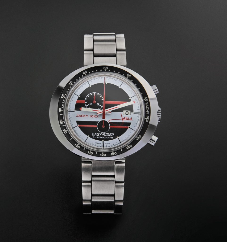 Part of the TAG Heuer Museum In Motion traveling exhibit: Heuer EasyRider JackyIckx Edition 1971