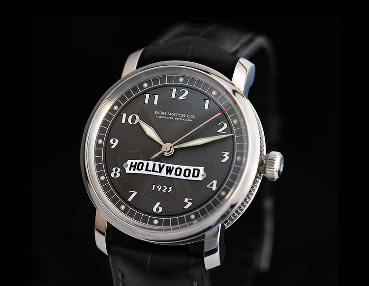 The Hollywood Watch by RGM for Hollywood 1923 features a piece of metal from the original Hollywood sign that was erected on the hillside in 1923.