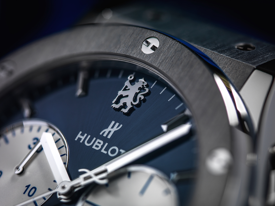 The automatic chronograph is the first watch done in partnership with Chelsea FC and features the team logo above the Hublot name on the dial.