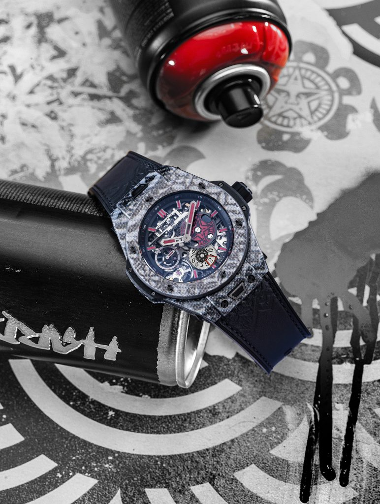 Black and red version of the Hublot Meca-10 Shepard Fairey watch.