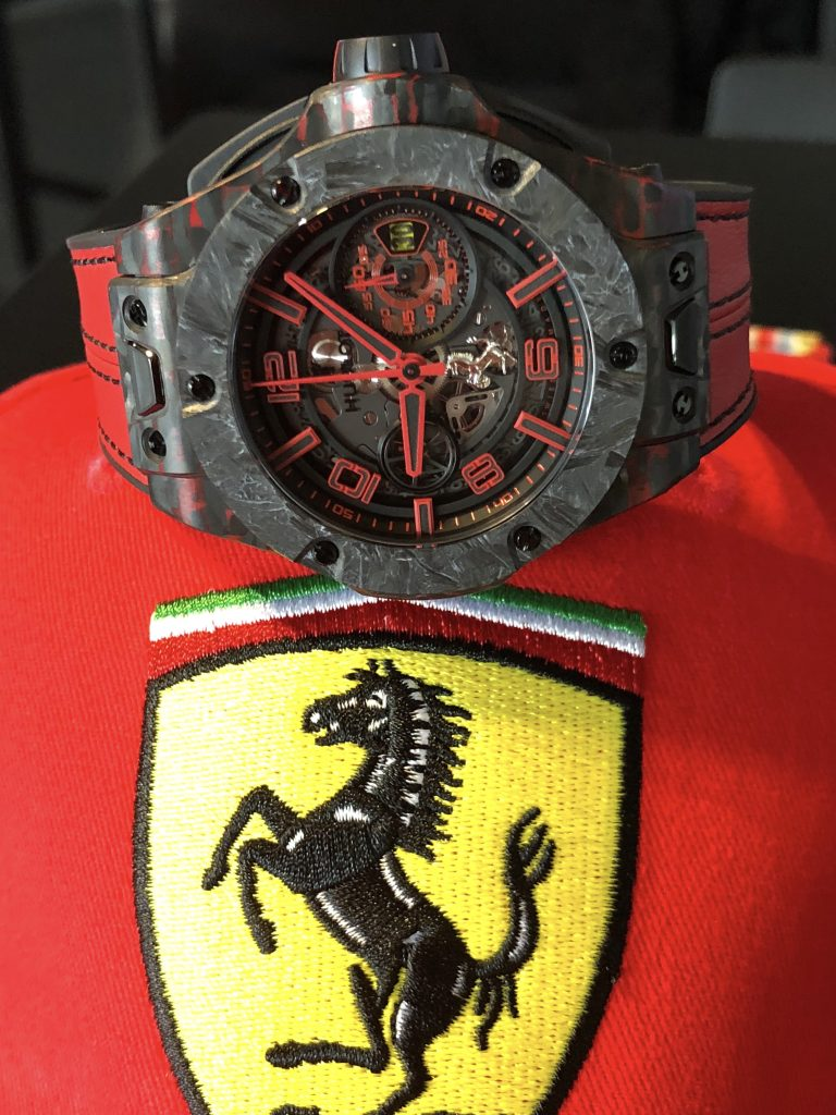 Hublot Big Bang Ferrari Scuderia Corsa watch with case and bezel using materials from the team's car.
