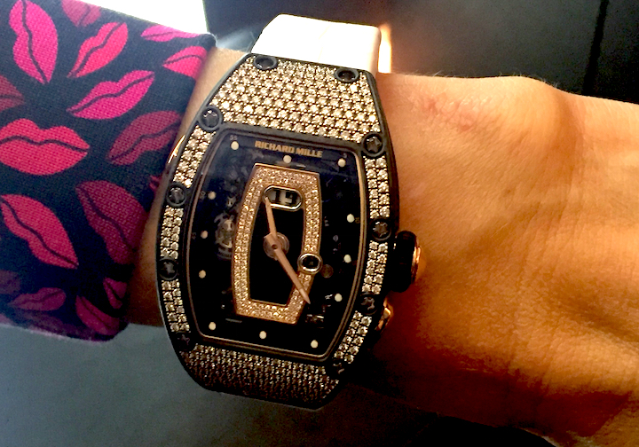 This Richard Mille RM037 NTPT(R) Carbon Set watch features 250 diamonds.