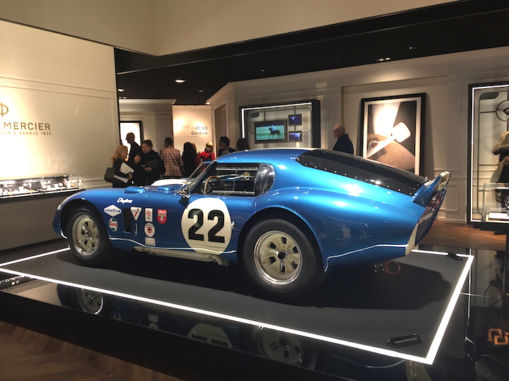 Baume & Mercier SIHH 2017 exhibition space, with the Daytona Coupe -- and Peter Brock, designer, of the famed car also was at the show.