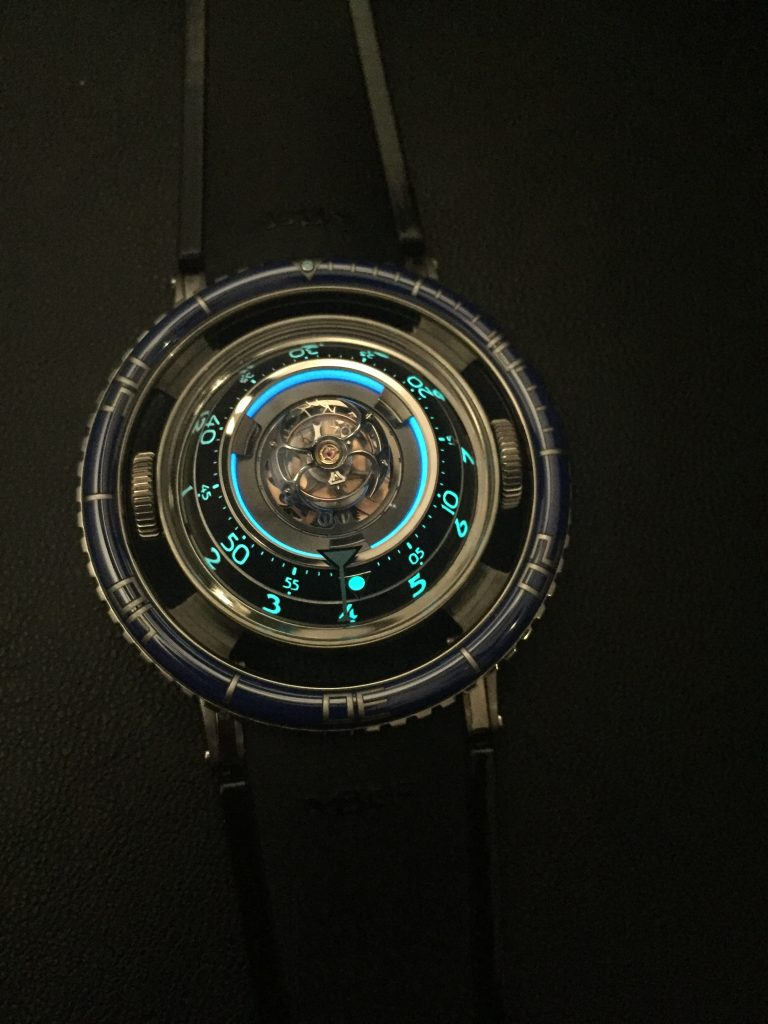 The MB&F HM7 Aquapod glows blue from within.