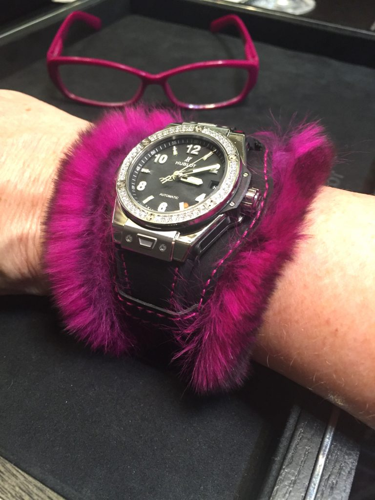 "Hublot Big Bang ""One Click"" Cuddly cuff watch makes a colorful and bold summer-night statement."