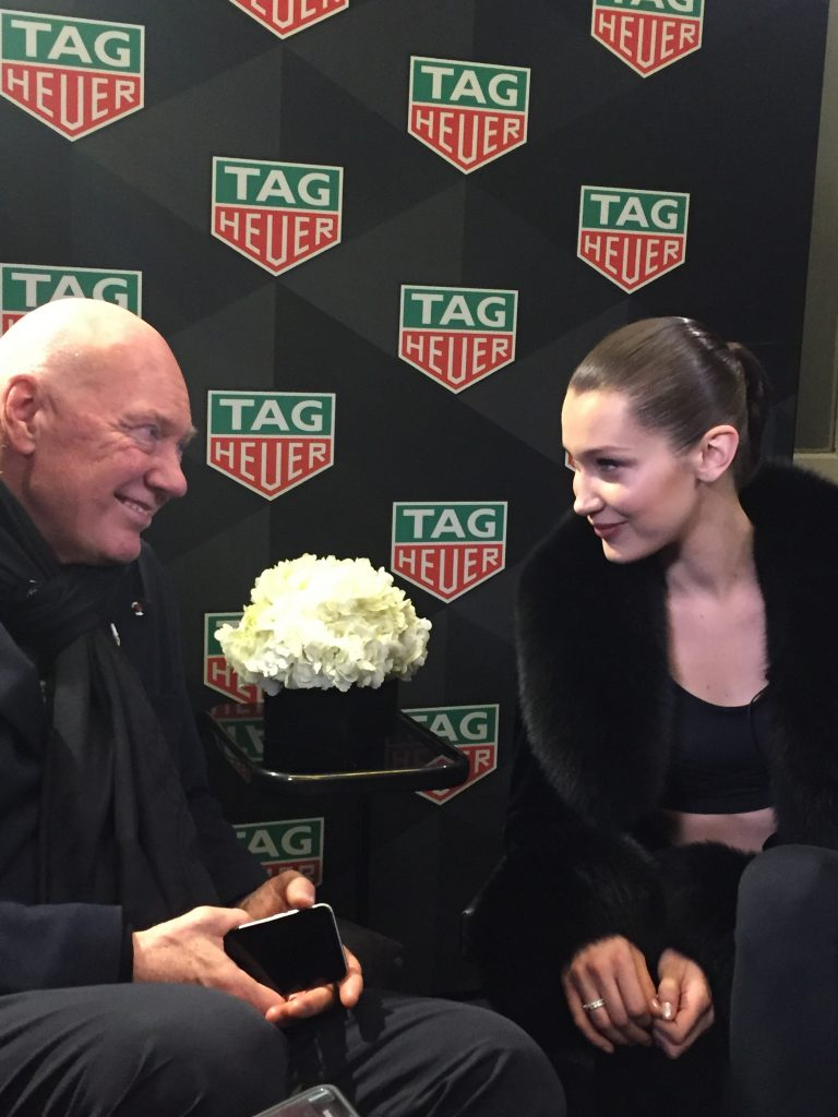 Super Model Bella Hadid with TAG Heuer CEO Jean-Claude Biver as they talk about time, disconnecting and not cracking under pressure.