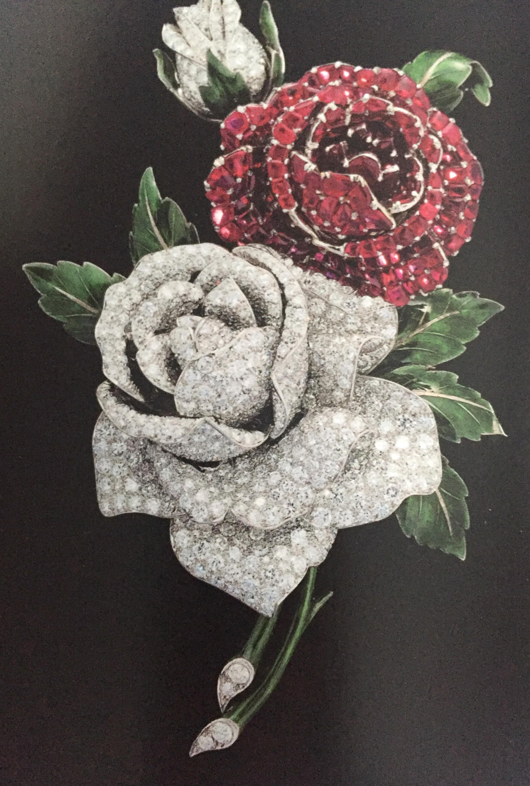 Diamond, ruby and emerald floral brooch by Oscar Heyman.