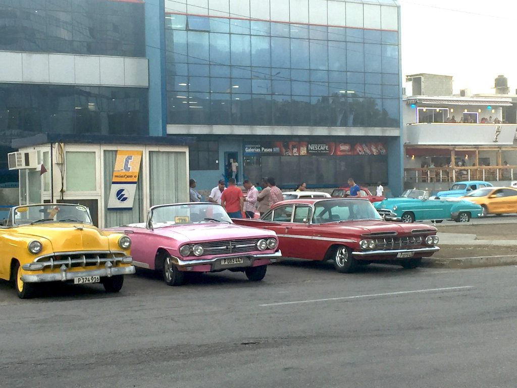 Outside the Melia Cohiba hotel in Havana, the fine old cars being used at taxis would line up and wait for a fare. It's a beautiful sight that looks a lot like our vintage car shows, but for them it is normal.