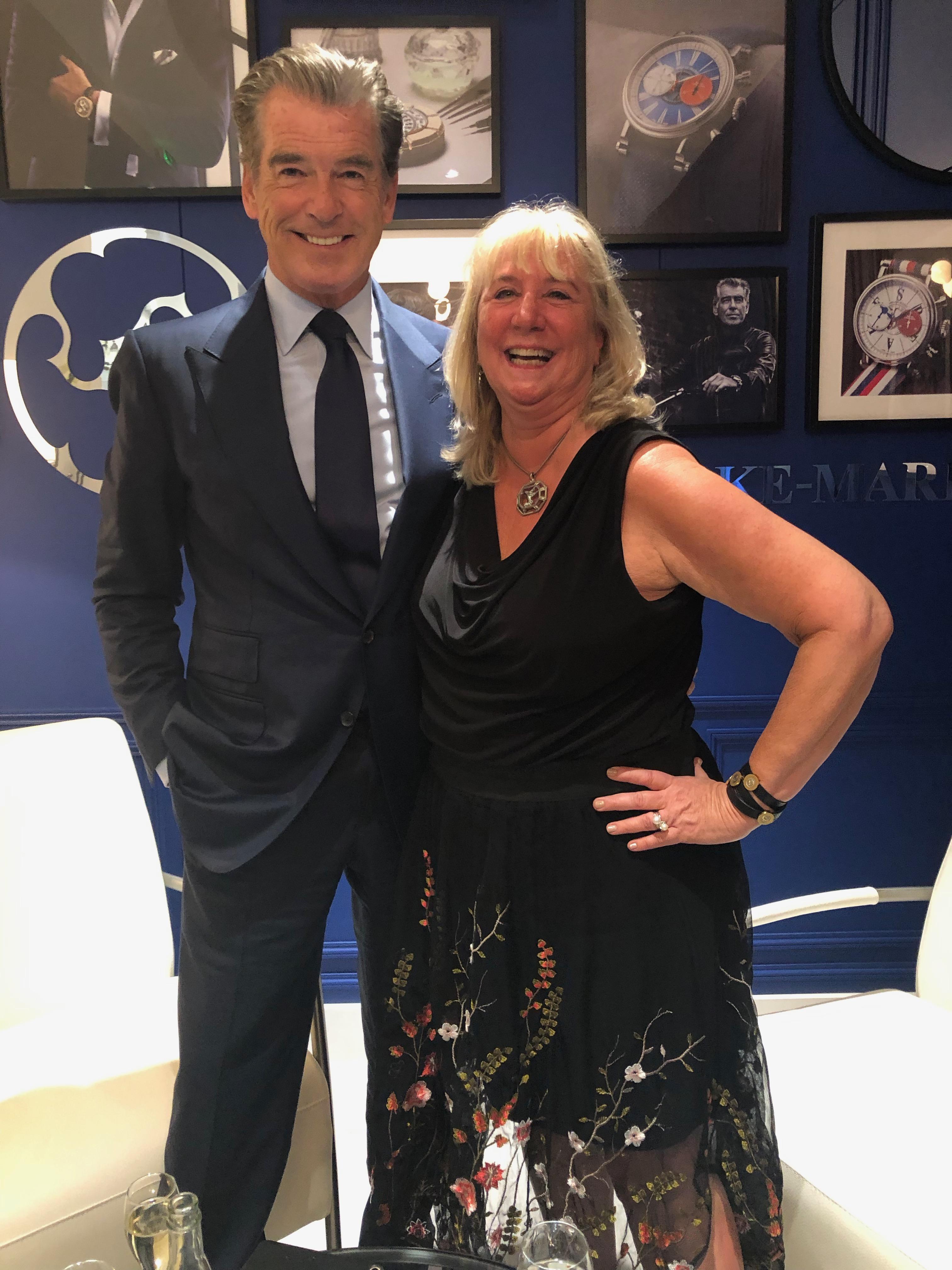 Pierce Brosnan with Roberta Naas at Speake-Marin booth at SIHH 2019