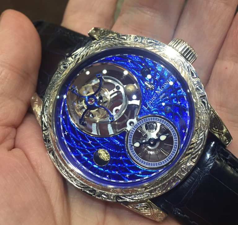 Louis Moinet Space Mystery watch with meteor and Magic Blue dial and rotating orb.